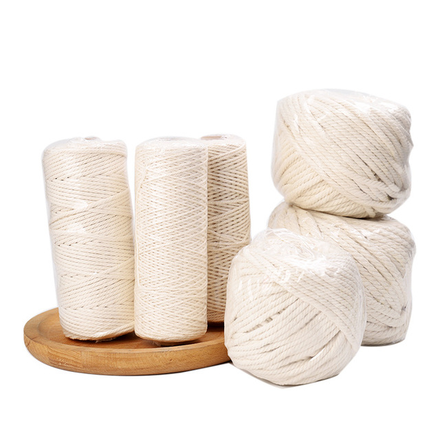 2020 new hot sale 1-6mm white cotton rope diy macrame cord handmade basket tapestry tag threads Home Textile Decoration material