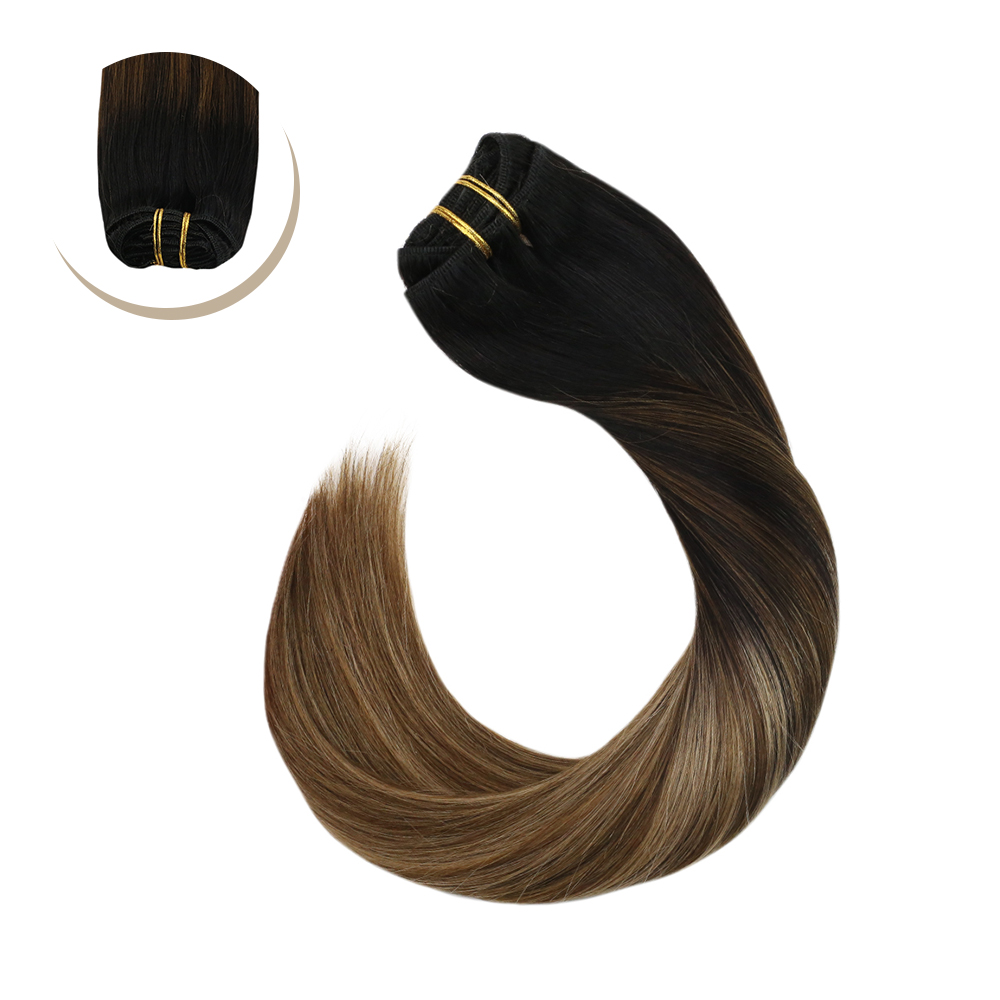 Ugeat Human Hair Clip In Extensions Full Head Hair Clip Ins Balayage Brown Color Hair Hair Pieces Hair 120G/10PCS Non-Remy Hair