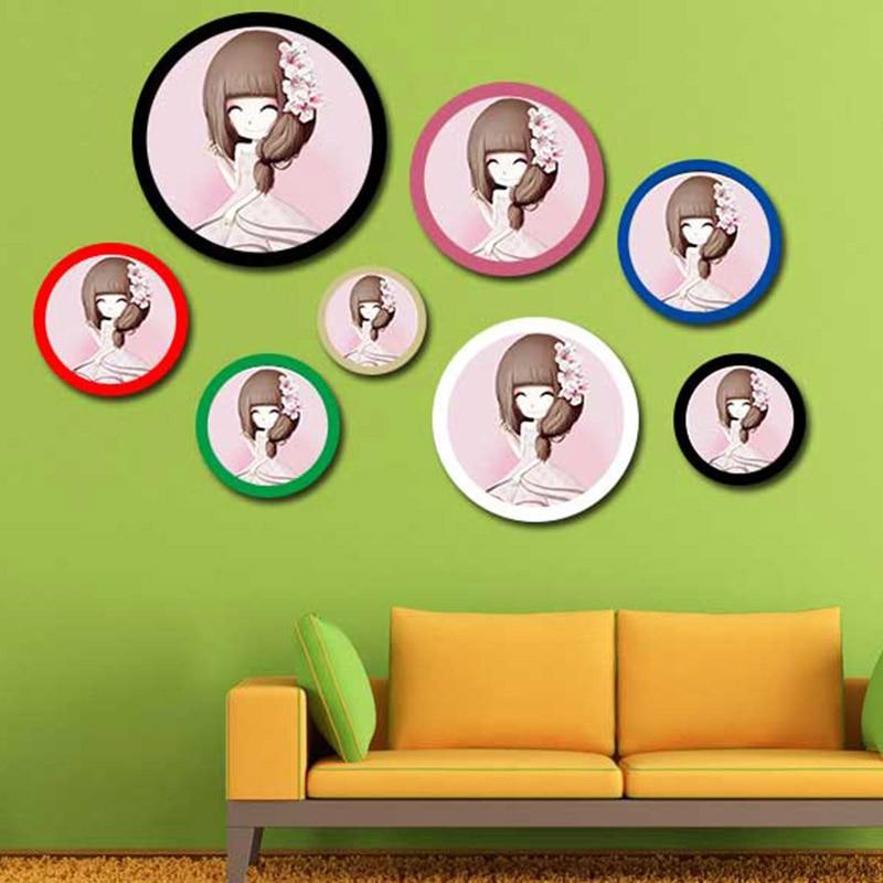 8 цветов, Современная круглая фоторамка в скандинавском стиле, крепление на стену, креативный держатель, Подвесные Подарки, деревянная картина, декоративная рамка для дома Рамка      АлиЭкспресс