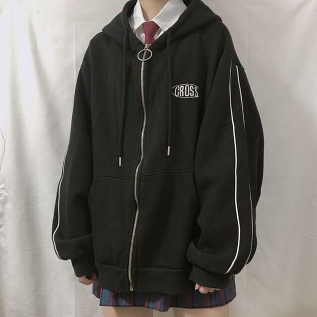 streetwear Harajuku Oversized sweatshirt women print Letter zip up Hoodies Student Plus Size Outwear Female Loose tops 5