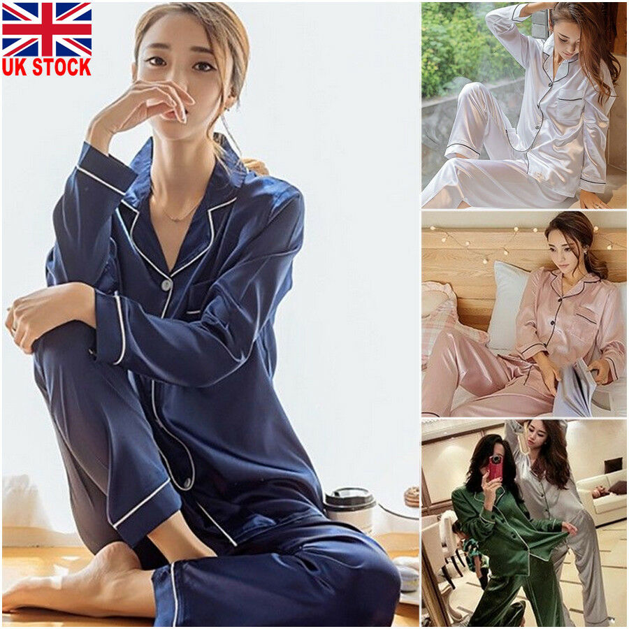 Spring Autumn Women Silk Satin Pajama Pj's Set Loose Women Sleepwear Homewear Nightwear Ops And Long Pant