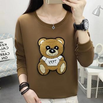shintimes 2019 Blouse Women Korean Raglan Sleeves Plus Size Lovely Cartoon Bear Sweatshirt Pullover Loose Womens Hoodies