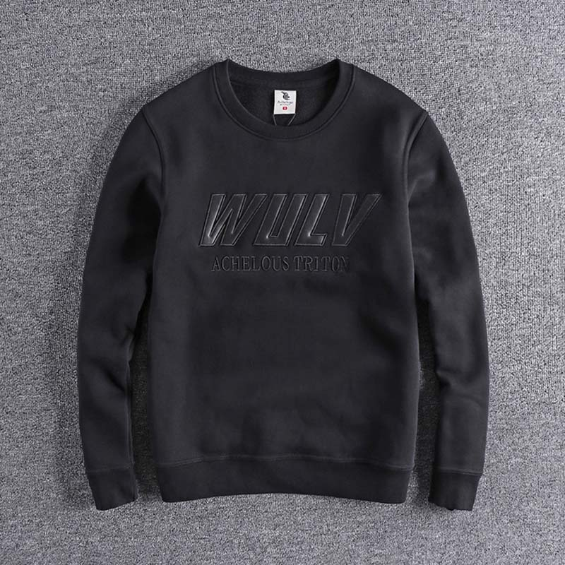 2019 Fashion Embroidery Letters In Autumn And Winter With Velvet And Warmth Preservation High Quality Plus Size Tops Cool Man XL