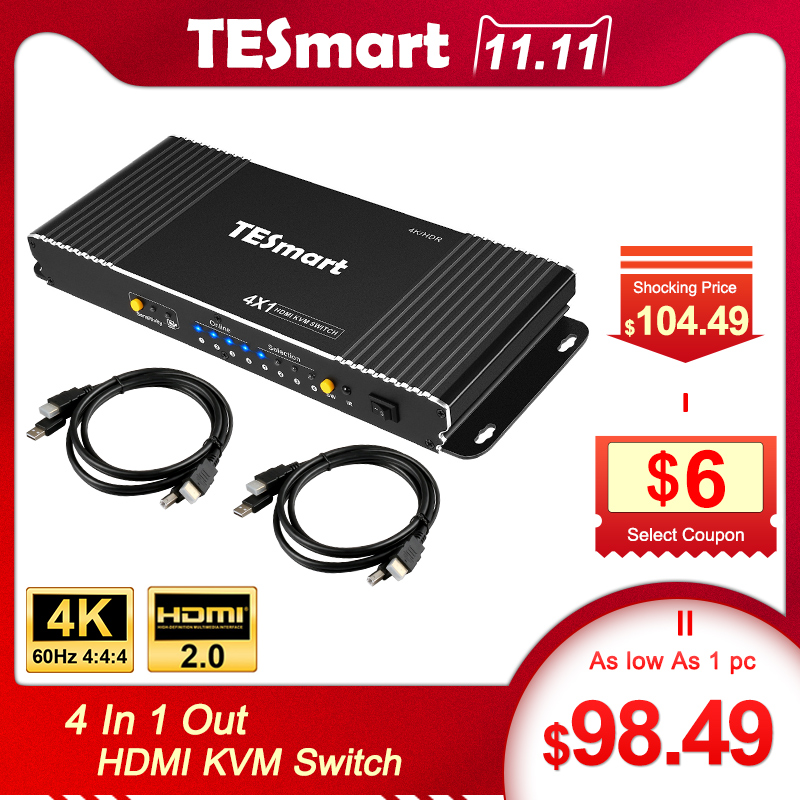 TESmart High Quality 4 Port USB KVM HDMI Switch With Extra USB 2.0 Port Support 4K*2K (3840x2160) With 2 Pcs 5ft HDMI KVM Cables