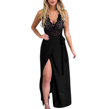 Women Beautiful Fashion Dress 2019 Hollow Back Sexy V Neck Lace Open Party Maxi A0826