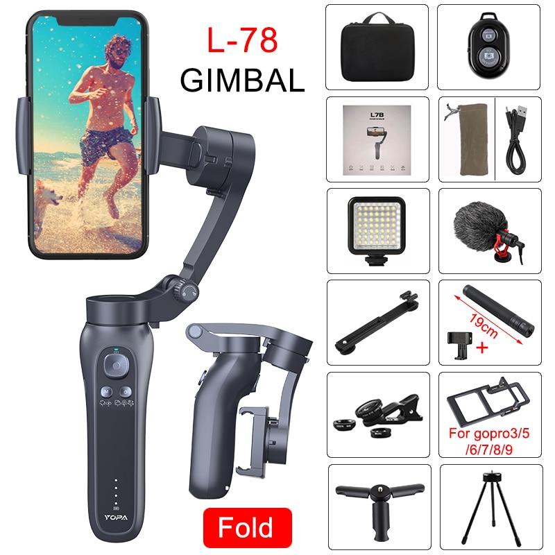 Orsda l7b 3-axis handheld cardan estabilizador gopro câmera estabilizador para smartphone telefone ação câmera vídeo registro vlog ao vivo