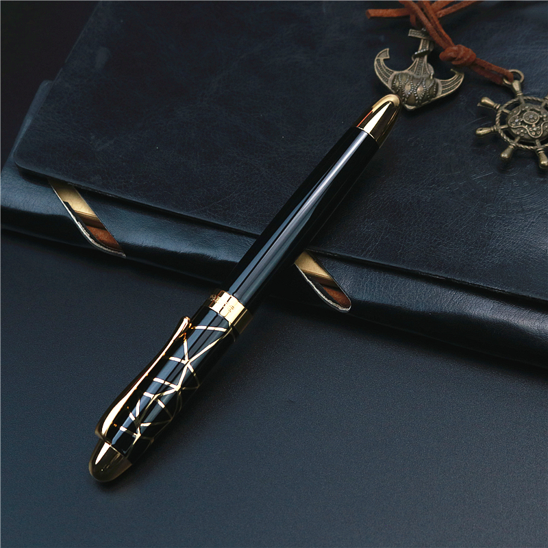 Hero gold ribbon black Fountain Pen with gift box F tip Does not contain ink Business school student pens