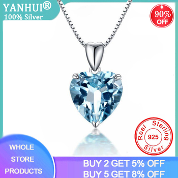 YANHUI Silver 925 Jewelry Necklace 100% Sterling Sapphire Pendant Luxury Woman Crystal Fine - discount item  97% OFF Fine Jewelry