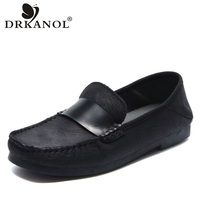DRKANOL New Arrival Spring Handmade Casual Shoes Woman 2020 Vintage Genuine Leather Flats Boat Shoes For Women Slip On Loafers