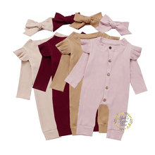 0-24M Newborn Baby Girl Boy Long Sleeve Ruffles Rompers Autumn  Knitted Jumpsuit Playsuit Soft Costumes Clothes