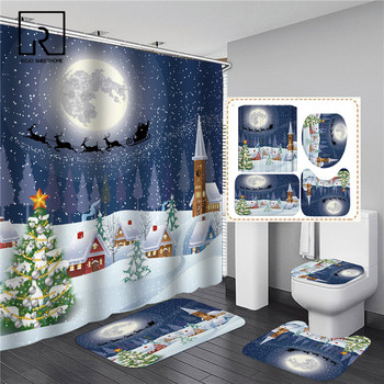 Blue Christmas Elk Print Shower Curtain Set with Anti Slip Toilet Mat Rug Carpet Bath Products Bathroom Home Decor with Hooks