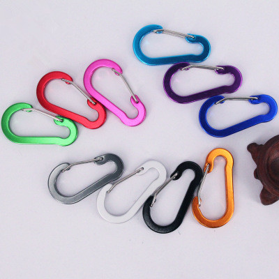 5pcs Gourd-shaped Flat Aluminum Alloy Carabiner Camping Color Wire Keyring Snap Spring Hook Outdoor Travel Kit