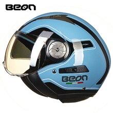 Beon mulher motocicleta metade capacetes dos homens 3/4 dupla viseira capacetes de corrida moto casco vintage retro motociclista scooter capacete