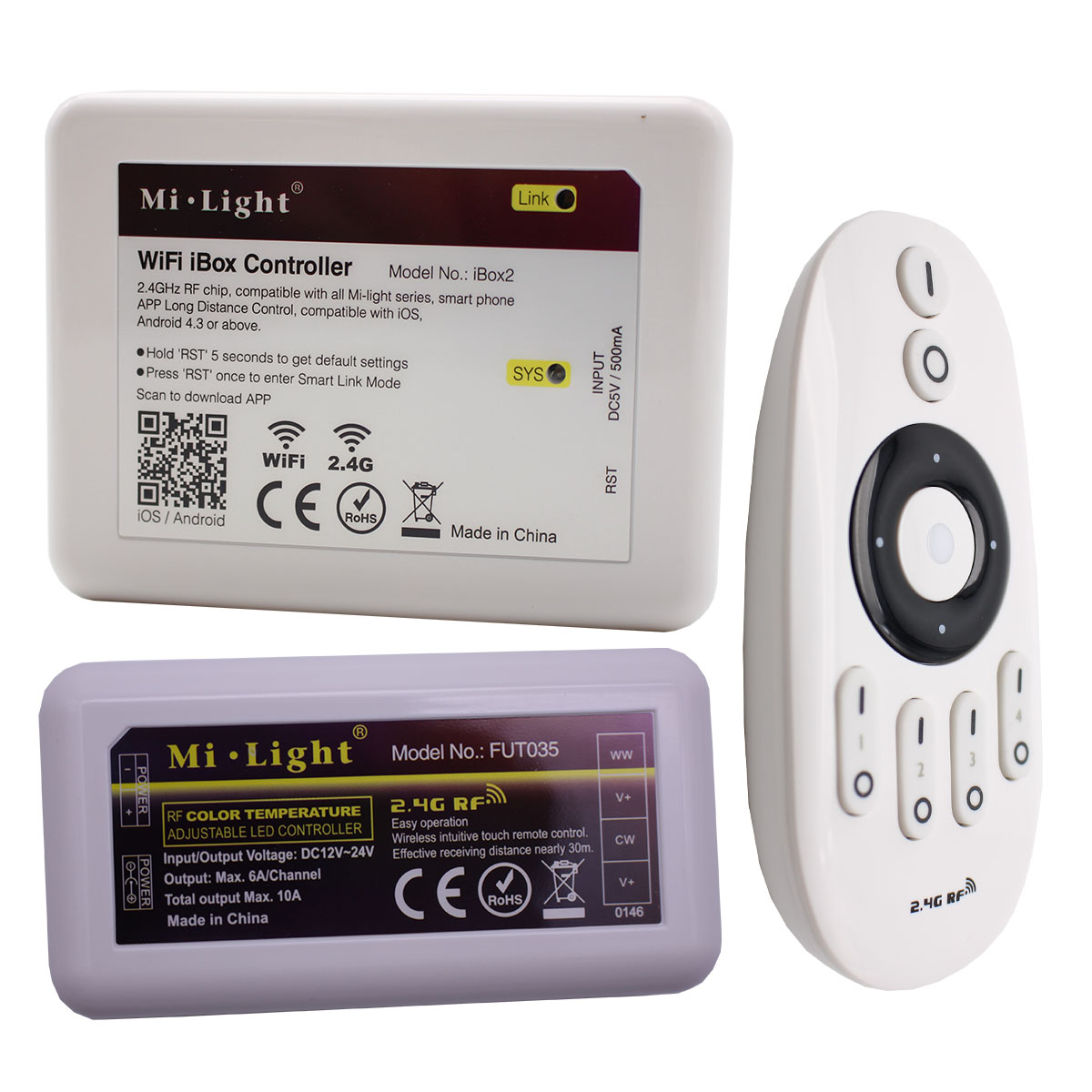 4-Zone CCT Mi Light FUT035 007 IBox2 RF DIMMER Remote Controller Wireless  Dimmable With All Mi-Light CCT Bulb/LED Strip
