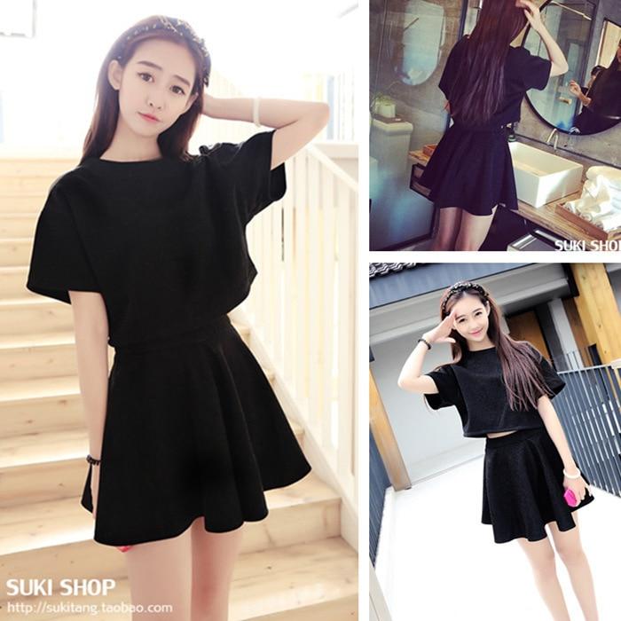 Students Summer Wear Debutante Korean-style Slim Fit Short Sleeve T-shirt Two-Piece Set Women's High-waisted Dress Half-length S