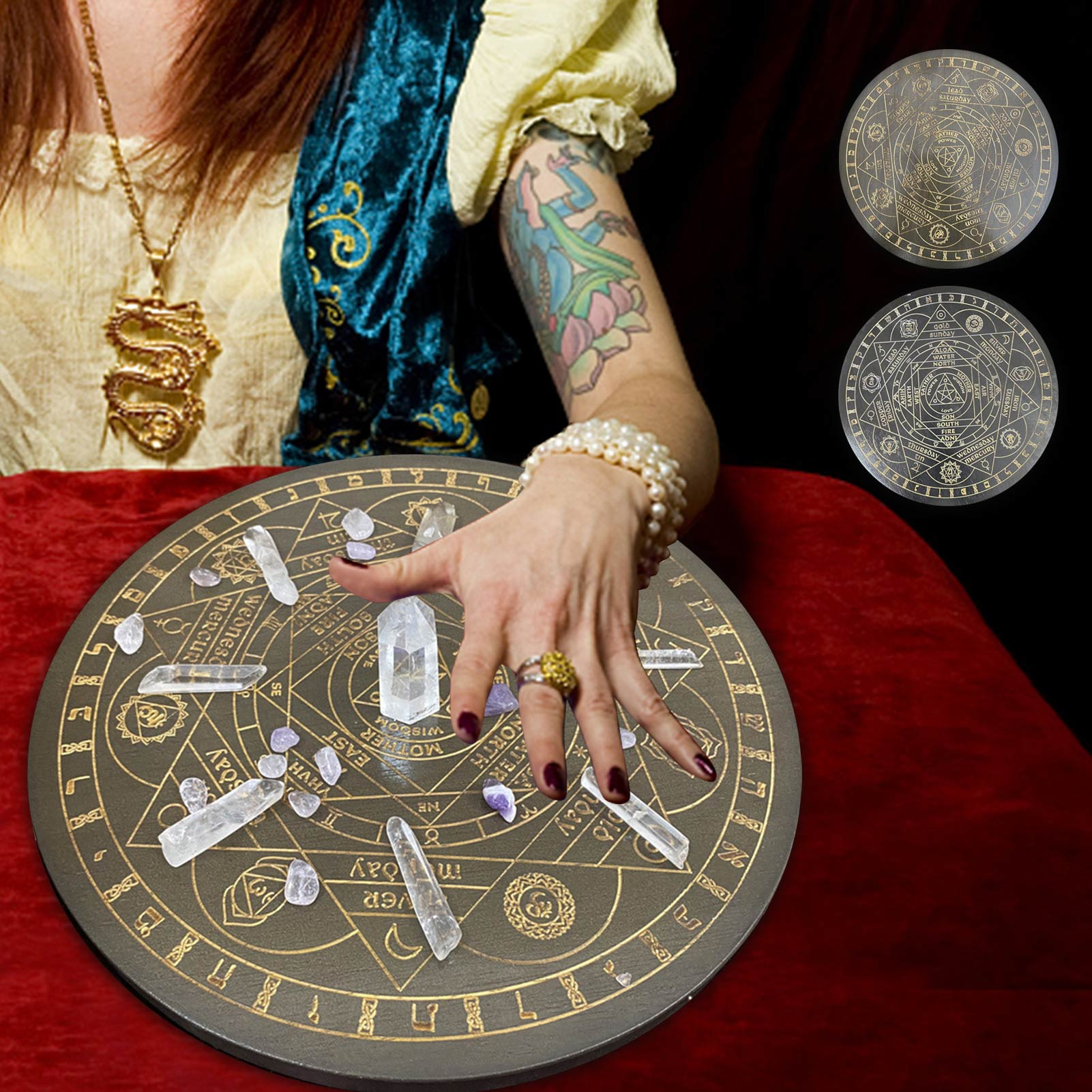 Seven Chakra Crystal Energy Disk Oak Carved Witch Divination Props Star Pendulum Board Wooden Carven Board Altar Astrolabe Props