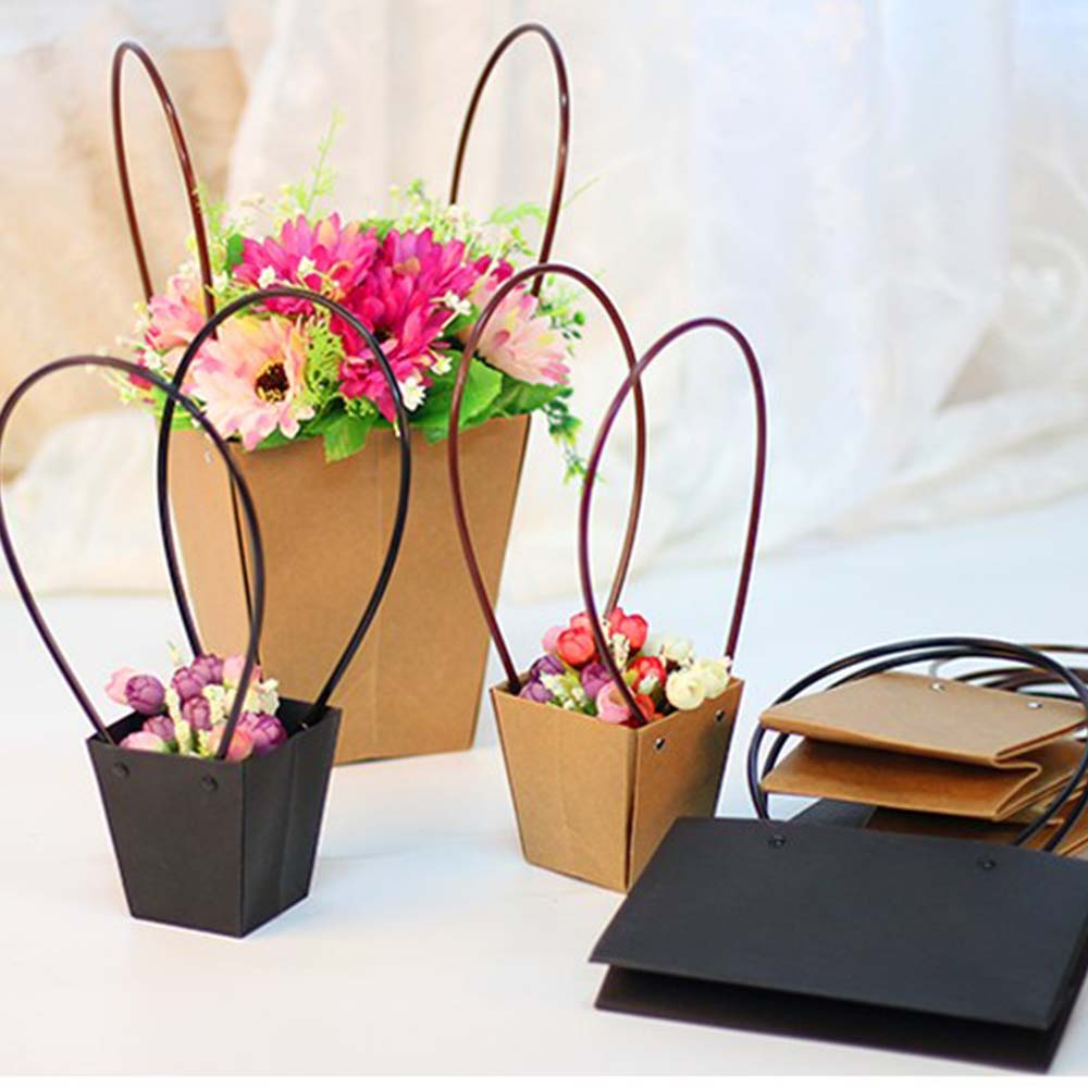 1PC Paper Bags Flower Box With Handle Waterproof Bouquet Florist Gift Packing Box Valentine's Day Rose Boxes Party Decoration