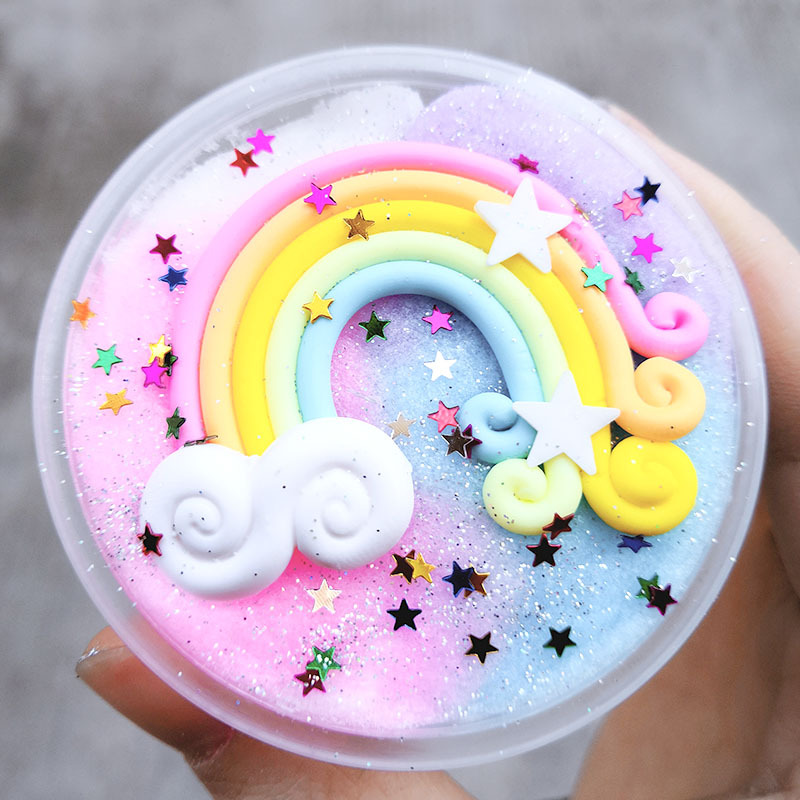 New Rainbow Wire Drawing Mud Slime Snow Mud Thousand Silk Slime Slime Decompression Plasticine Toys