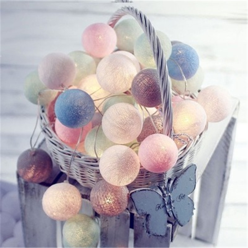 Newborn Photography Accessories Cotton Balls String Lights DIY LED Garland Lights Outdoor Garden Tents Decor Baby Bed Decoration