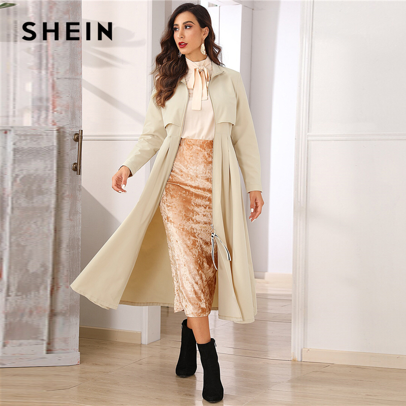 SHEIN Khaki Zip Up Flared Pleated Hem Trench Coat Women Autumn Solid High Waist Highstreet Elegant Long Outerwear Coats