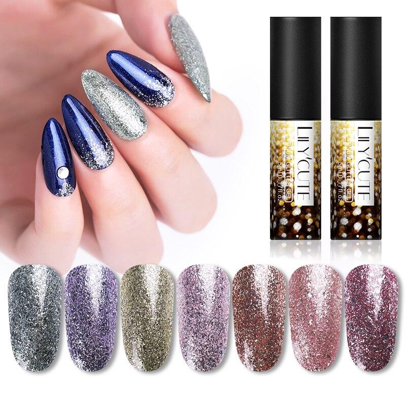 LILYCUTE 5ml Platinum Paillette FlaKies Gel Polish Glitter Shining Soak Off UV Gel Nail Art Decoration Nail Varnish