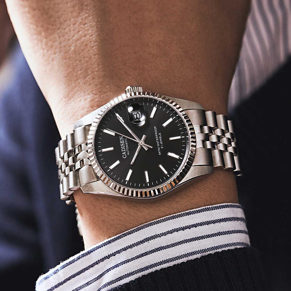 CADISEN الرجال ساعة ميكانيكية العلامة التجارية الفاخرة التلقائي ساعة الأعمال الفولاذ المقاوم للصدأ مقاوم للماء ساعة الرجال relogio masculino
