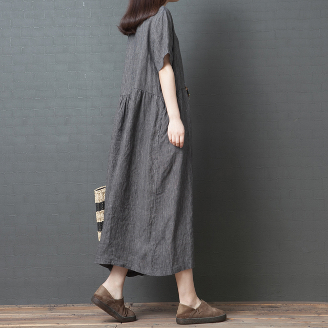 Uego Short Sleeve Loose Summer Dress Button striped Cotton Linen Vintage Dress Plus Size Women Holiday Casual Midi Dress 4