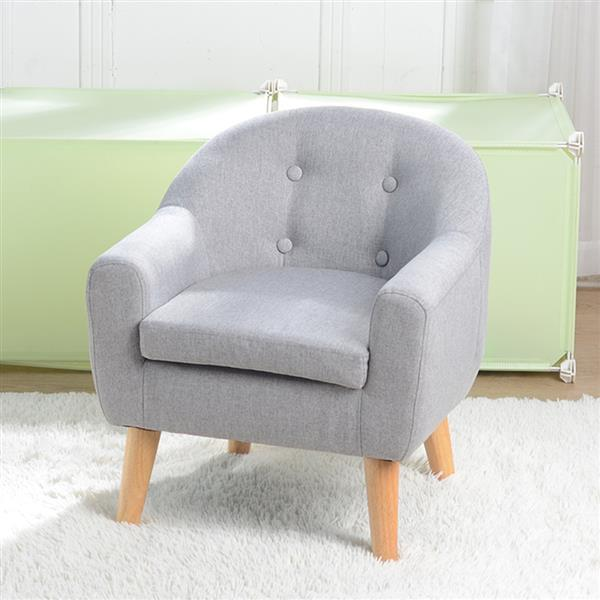 Children's Single Sofa with Sofa Cushion Removable and Washable Linen Gray 1