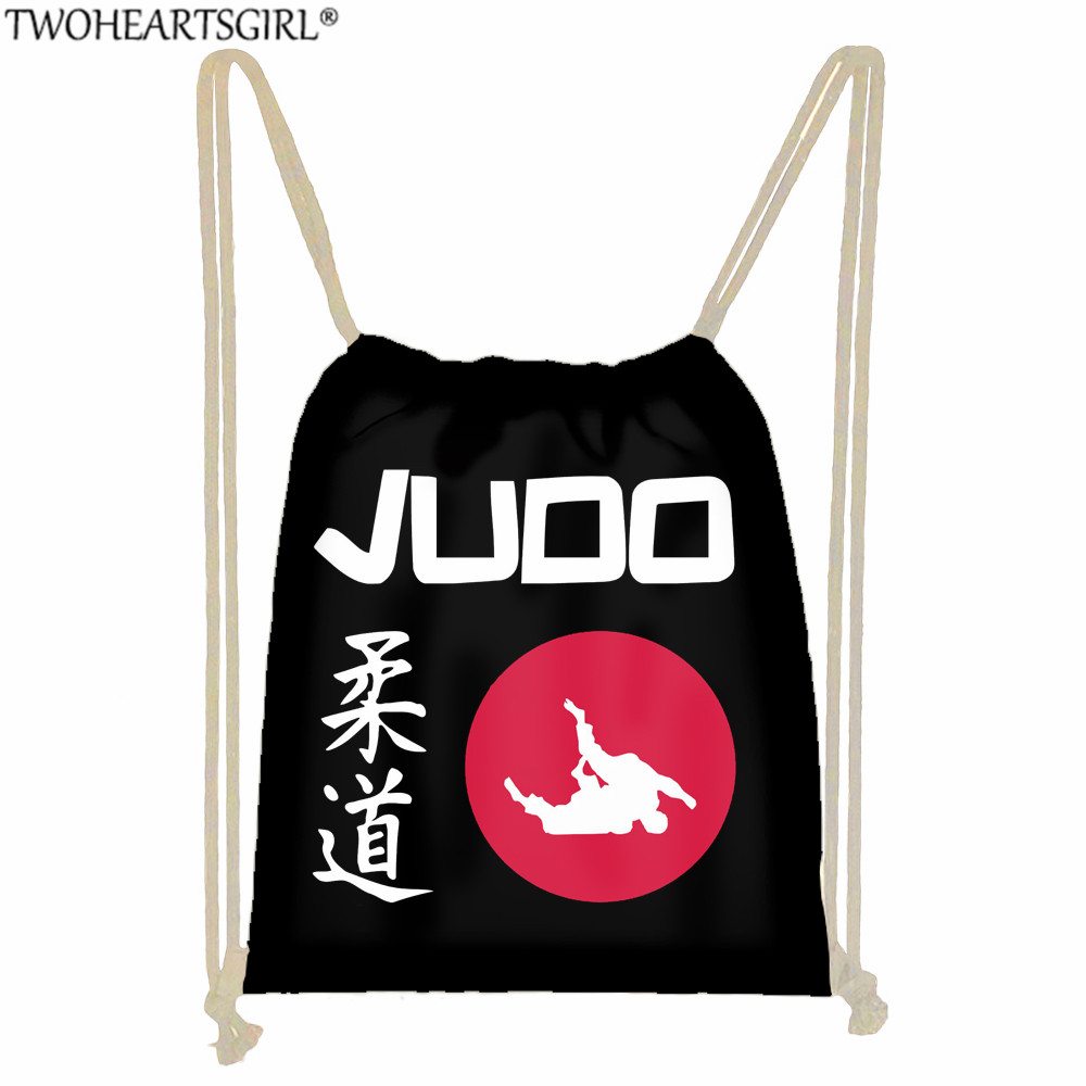 Twoheartsgirl Judo/Aikido/Boxing Printed Cool Drawstring Bag For Boys Girls Travel Storage Bag Children Backpack Black