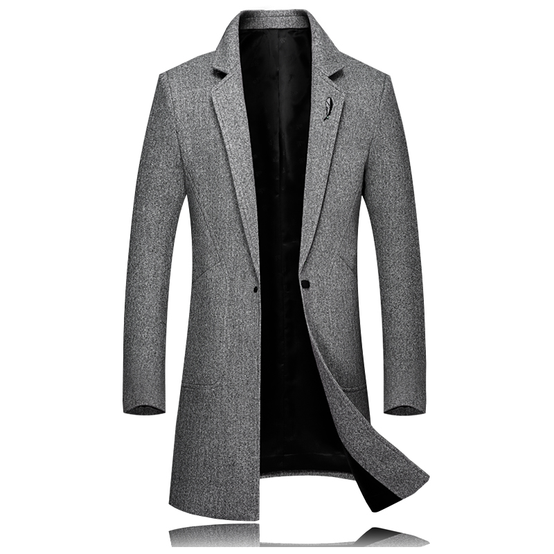 Hiver nouveau hommes laine longue veste S-3XL, affaires décontracté long manteau gris jaune noir vestes