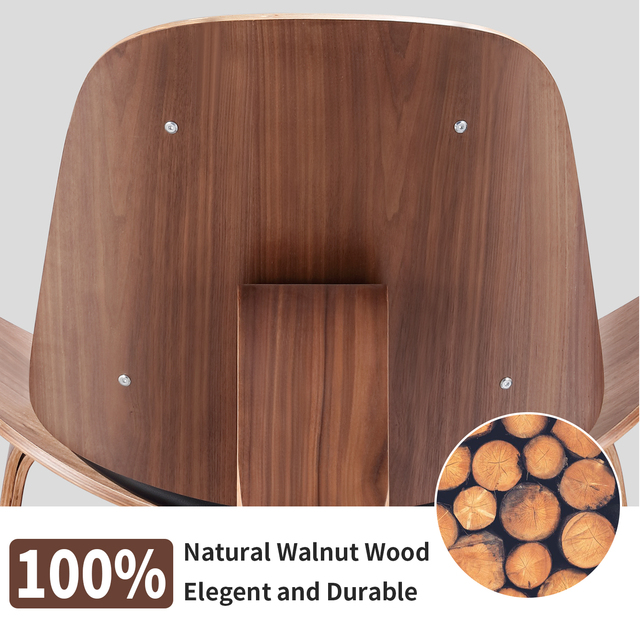 Furgle Mid Century Lounge Chair Replica Shell Chair Modern Tripod Plywood Lounge Chair 3 Wood Colors with Black Leather Chairs 4