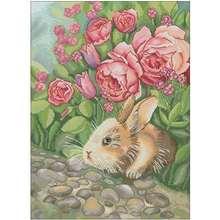 Набор для вышивки «кролик в цветах» Наборы «сделай сам» 11ct