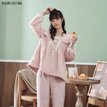 Женские теплые зимние пижамы наборы коралловых бархатных пижам