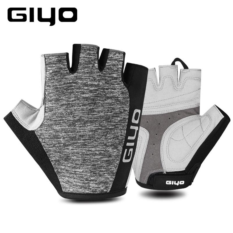 Half Finger Cycling Gloves Red Blue Black Gray Bicycles Clothing Silicon Pad 48g