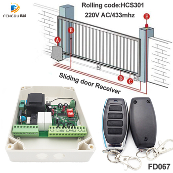 2 Channel 433.92Mhz 220V  AC Professional Sliding Door Controller Receiver Rolling code Remote control - discount item  22% OFF Access Control