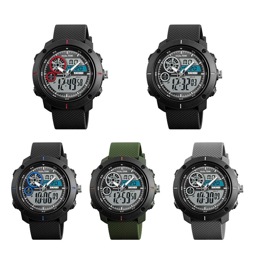 Luminous Outdoor Students Double Time Calendar Waterproof Alarm Wrist Watch Mas-culino Fashion Men's Watch Large Dial Militarys