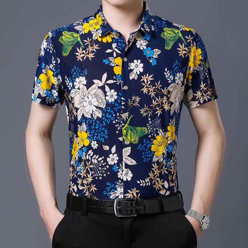 Hawaiian Style Casual 80% Silk Shirt Men Short Sleeve Both Sides Print Chinese Nation Flower 2020 Beach Summer Clothes