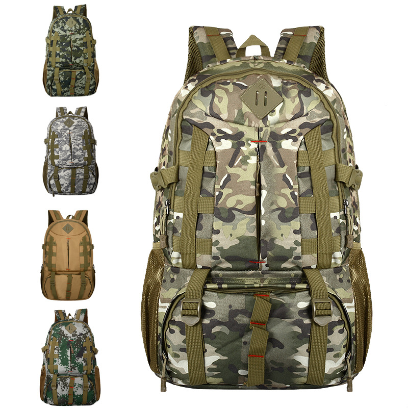 Manufacturers Direct Selling 55L Outdoor Sports Backpack Camping Hiking Anti-Spillage Large-Volume Camouflage Army Fans Mountain