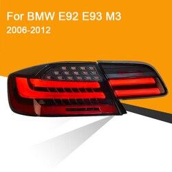 1 par luz trasera LED para BMW E92 E93 M3 330 335 2006-2012 rojo ahumado negro luz trasera LED intermitente luz de freno Luz de marcha atrás