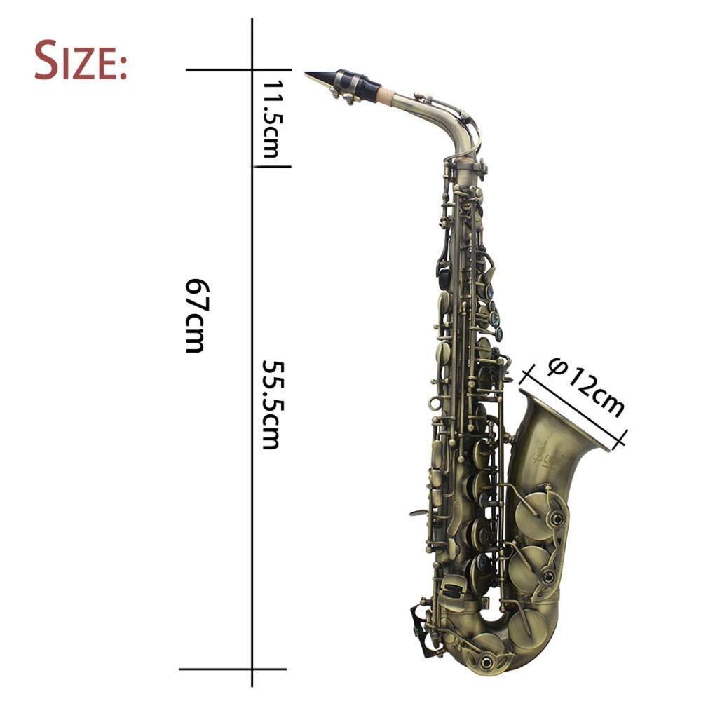 LADE de Alto grado antiguo Eb E flat Alto saxofón abulón cáscara clave tallado patrón con caso guantes correas boquilla - 3
