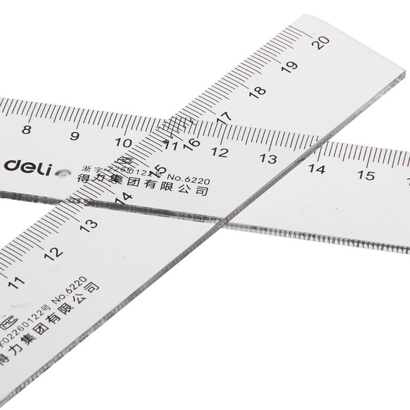 Deli 6220 Ruler 20cm Transparent Ruler Stationery Ruler Scale 20 Centimeter Ruler