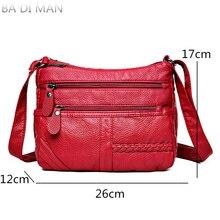 Hot Fashion Women Bag Washed Pu Soft Leather Shoulder Bag Multi-layer Crossbody Bags Quality Small Bag Brand Red Handbag Purse