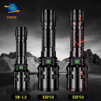 ZHIYU XHP50 LED Flashlight Rechargeable 8000LM LED L2 Tactical Torch Super Bright Hunting Light Waterproof for 18650 Battery 10000lums led l2 red tactical flashlight super bright usb rechargeable torch clip hunting light waterproof for 18650 battery set
