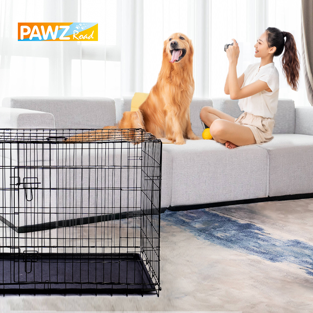 Fast Delivery Pet Dog Cage House Metal Dog Crates Double-Door Kennel Home Collapsible Easy Install Dog House for Small Large Dog 1