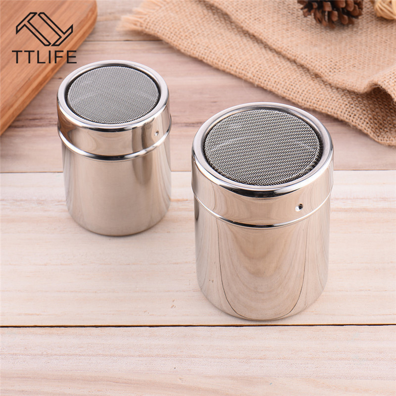 TTLIFE New 1Pc Stainless Steel Sprinkle Cocoa Cinnamon Sugar Gauze Mesh Jar Seasoning Bottle Fancy Coffee Powder Duster