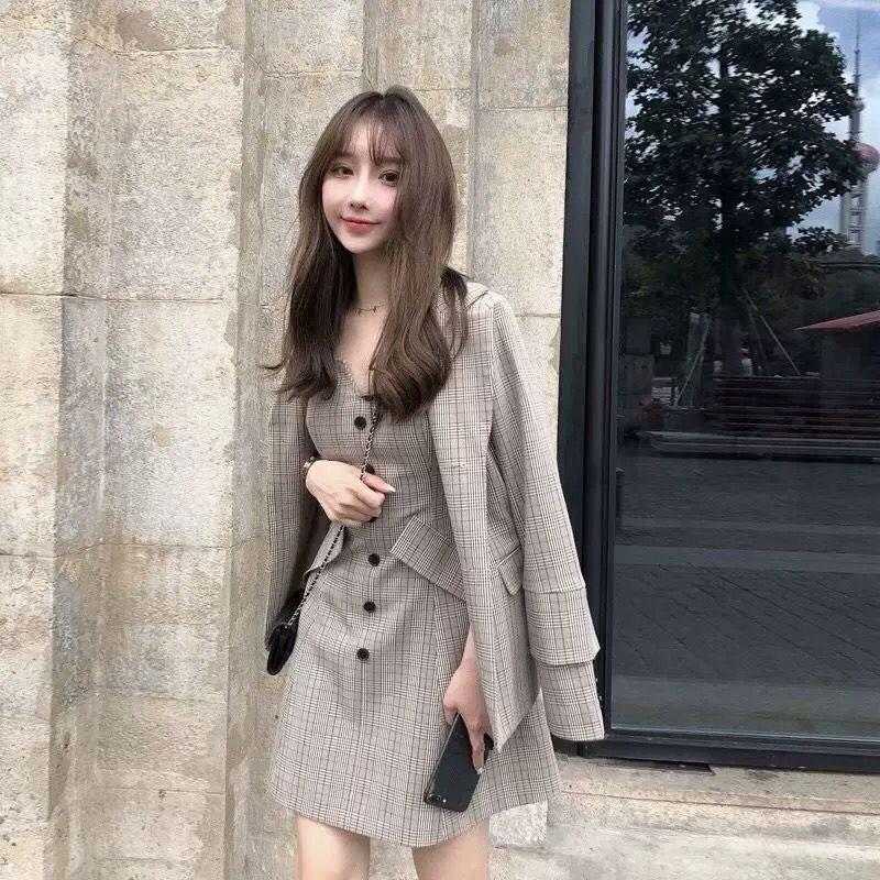 Women Jacket Coat And Straps Mini Dress Plaid Suits Retro Slim Office Blazer Lady Ol Work Two Piece Set