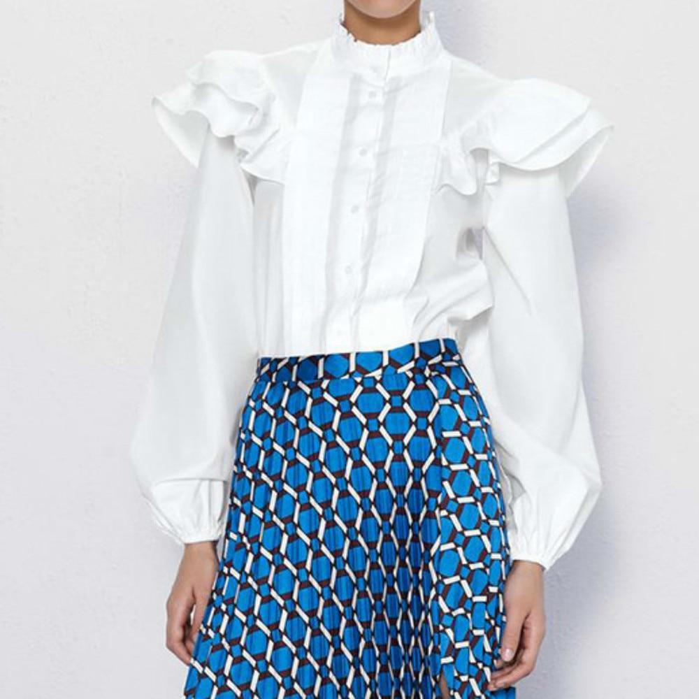 Elegant Ruffles Women Blouse Autumn Slim Shirt Vintage Office Ladies Tops Blusa See Through Top Women Sexy Shirt Chiffon Solid