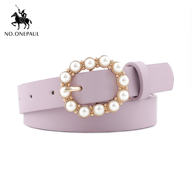 NO.ONEPAUL Fashion Women's Fashion Pearl Decorative Belt Round Pin Buckle Pearl Belts Women's Casual Solid  Leather Thin Belt