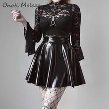 Onoti Molazo Gothic Black Lace Rompers Bodysuits Transparent Harajuku Flare Long Sleeve Bodysuit Female 2019 Autumn New