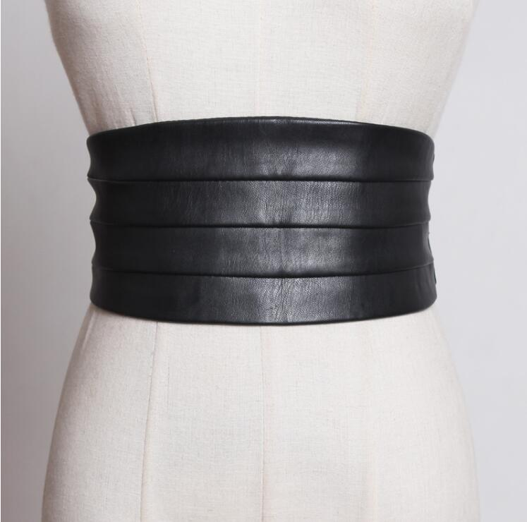 Women's Runway Fashion Pu Leather Elastic Cummerbunds Female Dress Coat Corsets Waistband Belts Decoration Wide Belt R1775